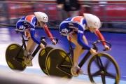 Anna Blythe and Jess Varnish. Track Cycling World Cup. Manchester Velodrome. 01/11/2008. Nikon D200 - 1/160 sec @ f4.8, ISO 1600 (0945_0052.jpg)