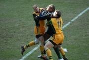 Robbie Kydd and John Rudd. London Irish v Northampton Saints. Madejski Stadium, Reading. 26/02/2006. Nikon D200 - 1/250 sec @ f5, ISO 320 (0764_040.JPG)