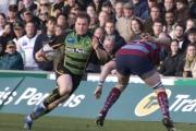 Paul Diggin. Northampton Saints v Rotherham Titans. Franklin's Gardens, Northampton. 01/03/2008. Nikon D200 - 1/200 sec @ f5.6, ISO 450 (0907_0257.jpg)