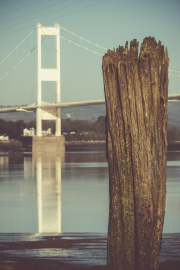 Old Severn Bridge and post