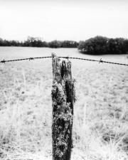 Post with barbed wire