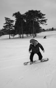 Snowboarding on Henbury Golf Course